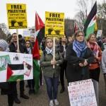 (FOTOS) Manifestantes pro-palestinos se reúnen frente a la Casa Blanca durante la reunión del lobby pro-israelí